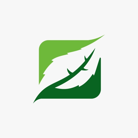 Green leaf logo vector illustration.