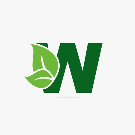 Letter with green leaf icon illustration.