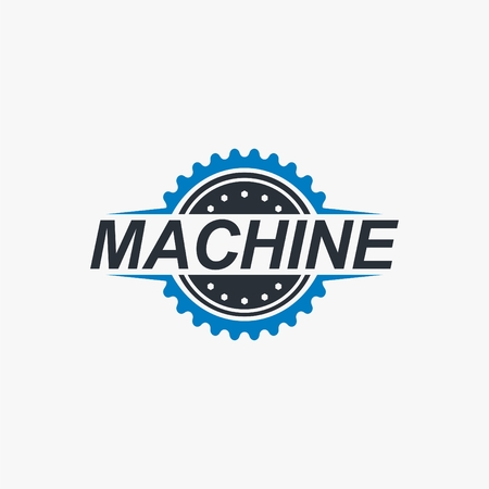 Gear machine logo vector illustration for your industry business. Stock Illustratie