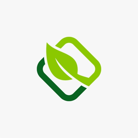 Green leaf rectangle icon illustration.