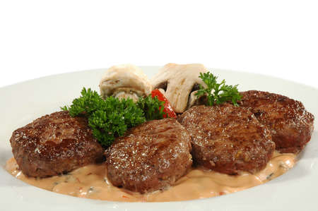cutlets: four cutlets with champignons