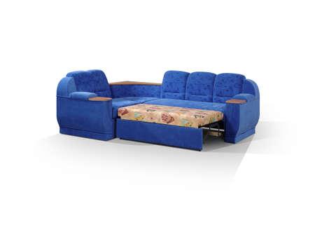 decomposed: angular sof� de color azul oscuro, descompuesto en una cama