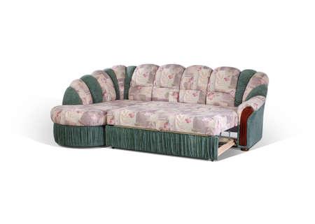 decomposed: angular sof�, descompuesto en una cama en un fondo blanco  Foto de archivo