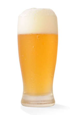 Cold beer glass on white background photo