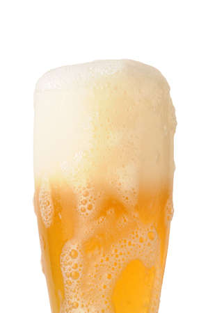 beer foam under glass on white background Stock Photo - 3188412