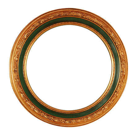 round antique frame with clipping path photo