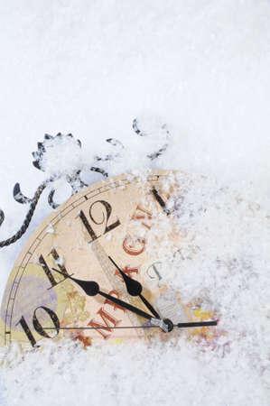 beat the clock: Christmas Time Clock under snow