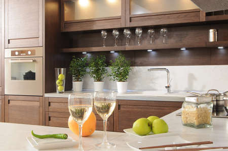 modern kitchen: fragment of modern kitchen Stock Photo