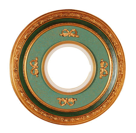 round antique frame with clipping path Stock Photo