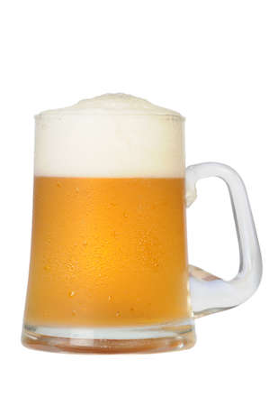 Cold beer mug on white background Stock Photo