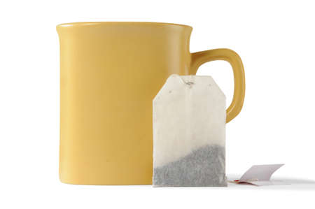 isolated cup and teabag  Stock Photo