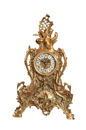 path to wealth: isolated bronze old-fashioned clock with path