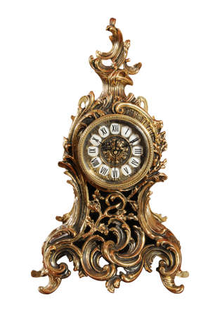 isolated bronze old-fashioned clock with path