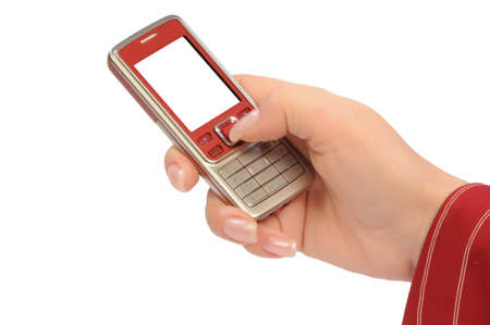 womanish hand holds a mobile telephone Stock Photo - 4235648