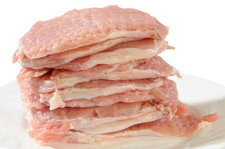 removed: removed and cut raw undercut of pork Stock Photo