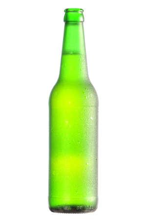 open lager beer bottle Stock Photo