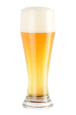 complete glass of light beer without matt cover and drops photo