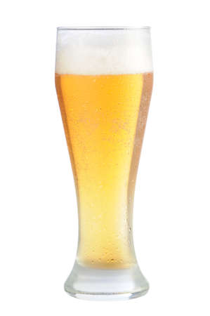 Cold beer glass on white background