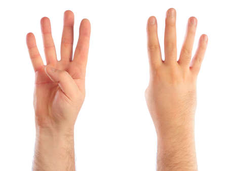 Male hands counting number 4 photo