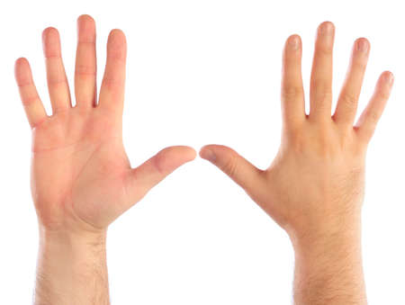 number 5: Male hands counting number 5 Stock Photo