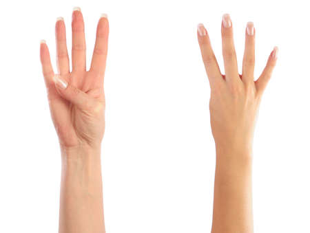 Female hands counting number 4