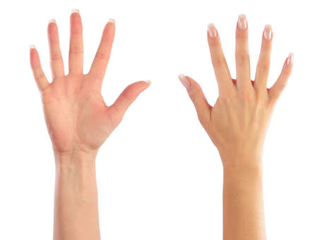 four hands: Female hands counting number 5 Stock Photo