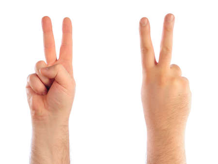 Male hands counting number 2 photo