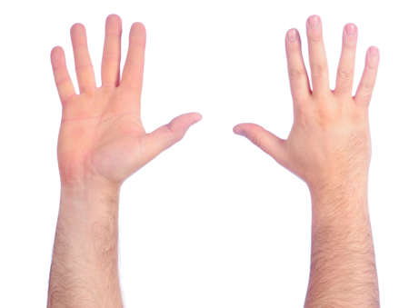 Male hands counting number 5 Stock Photo