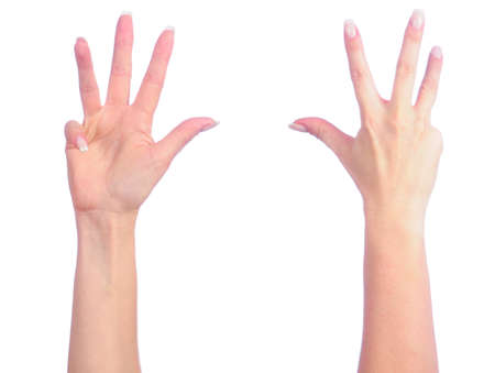 Female hands counting. Number 4 photo