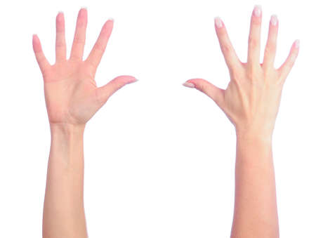 two object: Female hands counting number 5 Stock Photo