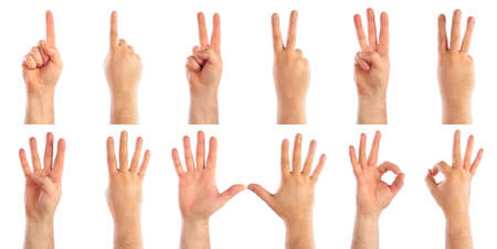 2 3: Male hands counting Stock Photo