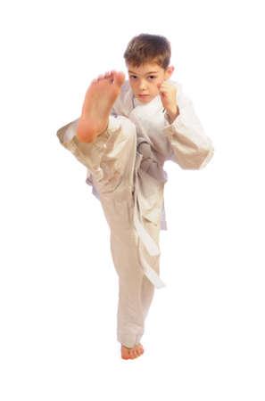 self defense: boy practicing self defense