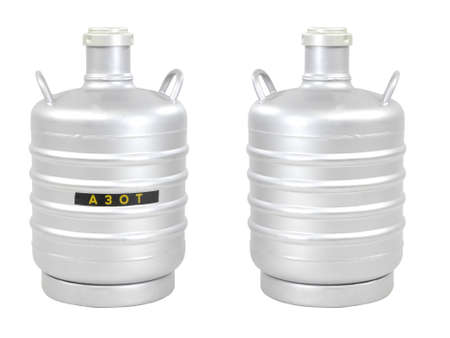 nitrogen: Container for transporting liquid nitrogen, isolated on white Stock Photo