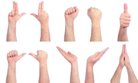 two object: Different male hands counting