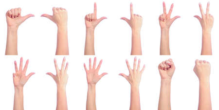 Female hands counting. Good or bad Stock Photo