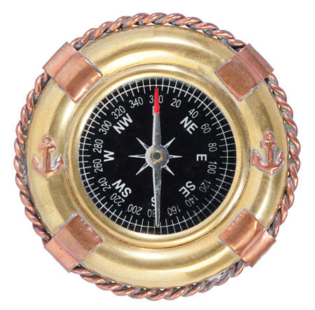 breadth: old-fashioned compass on white background