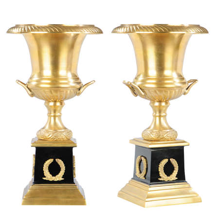 isolated golden cup on the white background photo