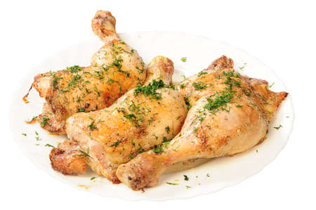 fried chicken legs with dill on white plate Stock Photo - 4712677