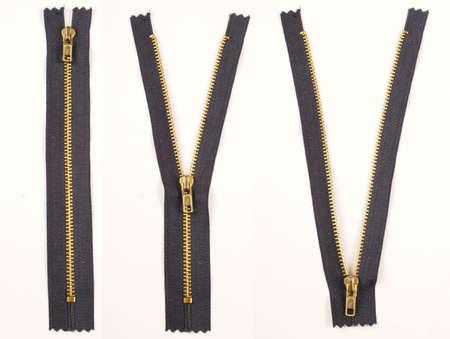 fastening objects: Zipper. Closed, Half Open, Open