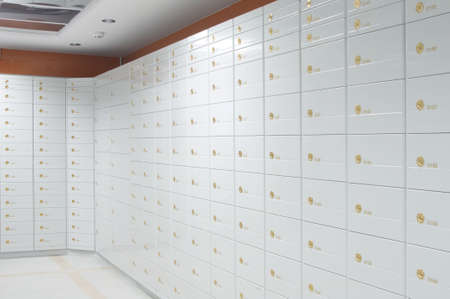 vaulted door: Vault of safe deposit boxes