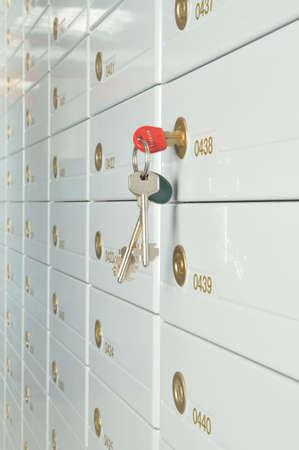 deposit slips: Deposit safe bank and keys to the safe