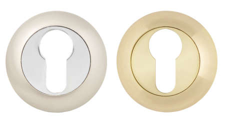 Keyhole in Modern Escutcheon on white background Stock Photo