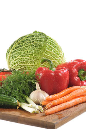close-up shot of colorful different vegetables on board Stock Photo - 6426528