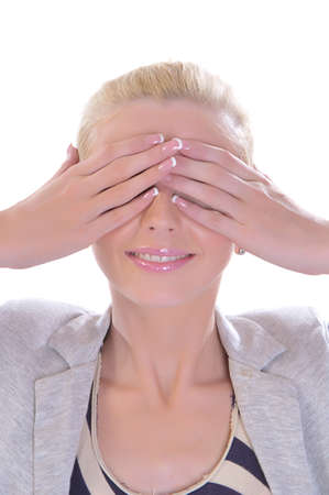 closes eyes: The blondy woman closes eyes hands and smiles Stock Photo