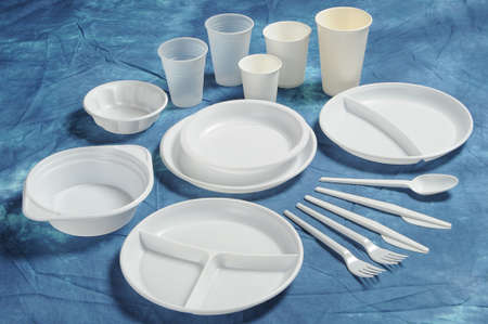 Varieties of disposable plates cups and cutlery