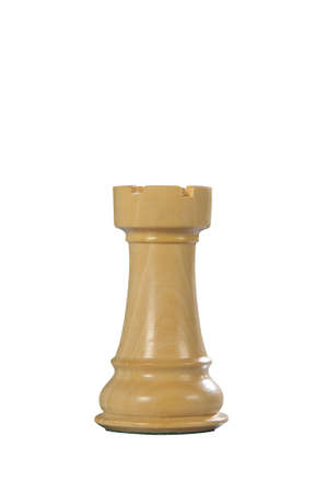 White wooden tower - one of 12 different chess pieces. Stock Photo