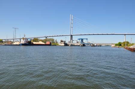 attraktion: View of the Rugia Bridge in Stralsund Stock Photo