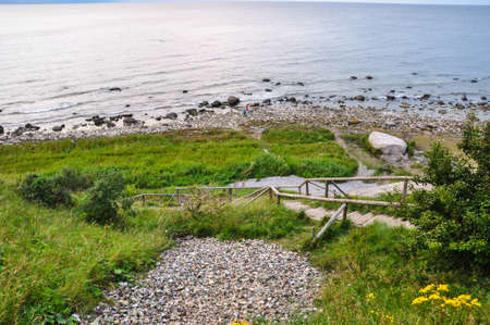 kap: Stairs to the coast at Kap Arkona, Ruegen, Germany Stock Photo