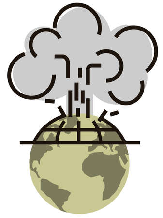 nuclear bomb: Plant earth with smoke. Illustration
