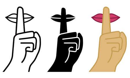 Bądź cicho, cisza, ilustracji wektorowych.